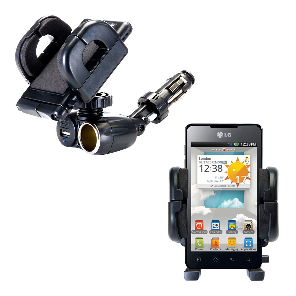 Cigarette Lighter Car Auto Holder Mount compatible with the LG Optimus 3D Cube