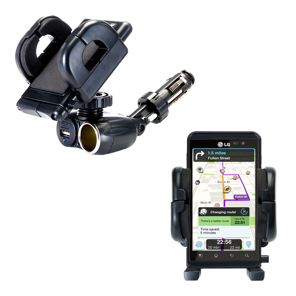 Cigarette Lighter Car Auto Holder Mount compatible with the LG Optimus 3D Max