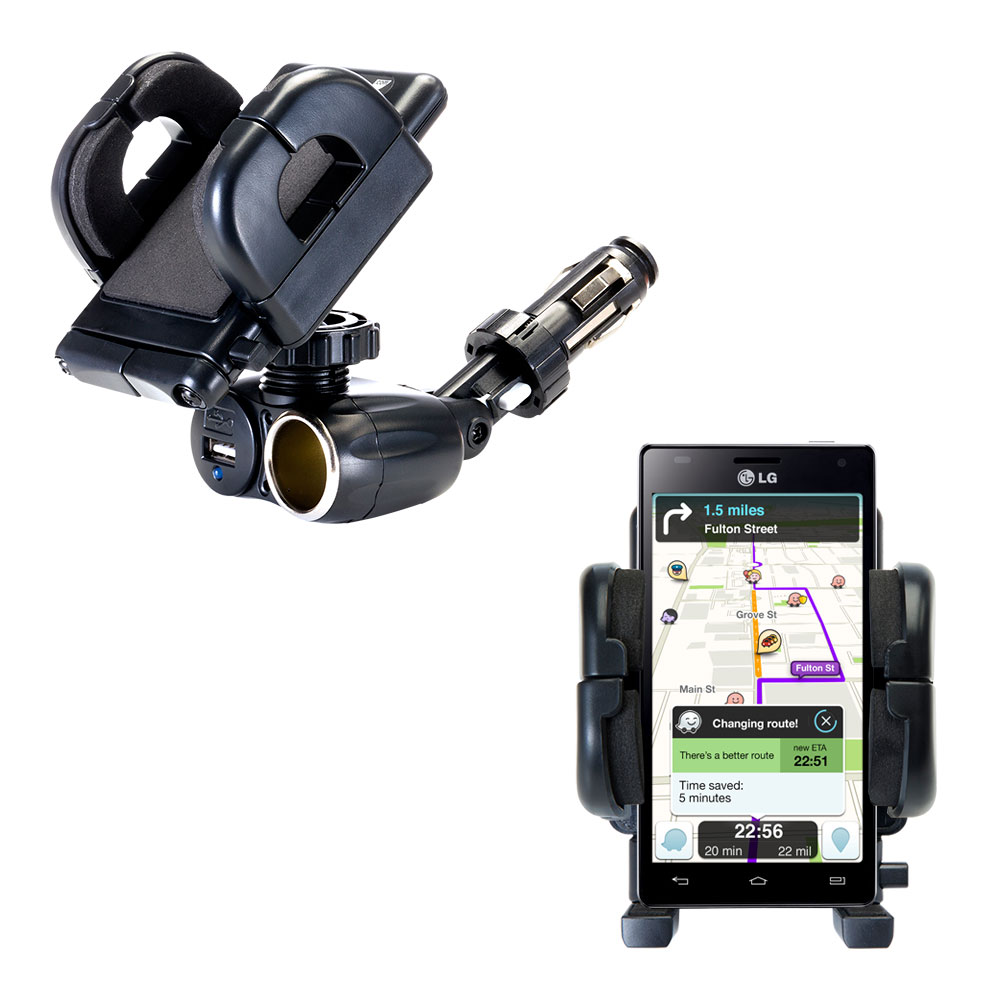 Cigarette Lighter Car Auto Holder Mount compatible with the LG Optimus 4X HD