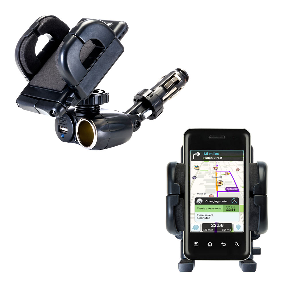 Cigarette Lighter Car Auto Holder Mount compatible with the LG Optimus Chic