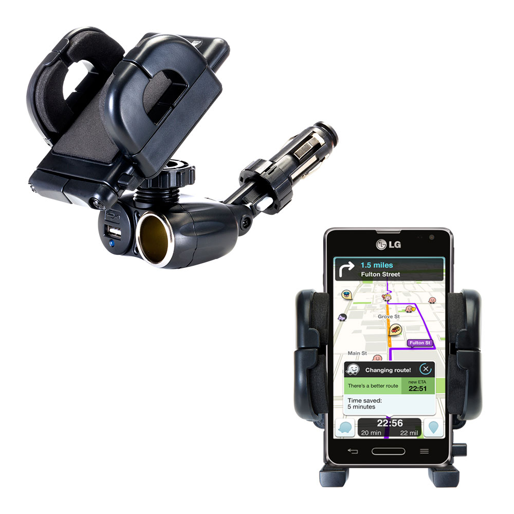 Cigarette Lighter Car Auto Holder Mount compatible with the LG Optimus F3