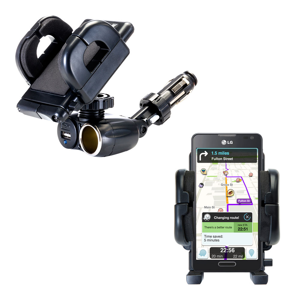 Cigarette Lighter Car Auto Holder Mount compatible with the LG Optimus F6