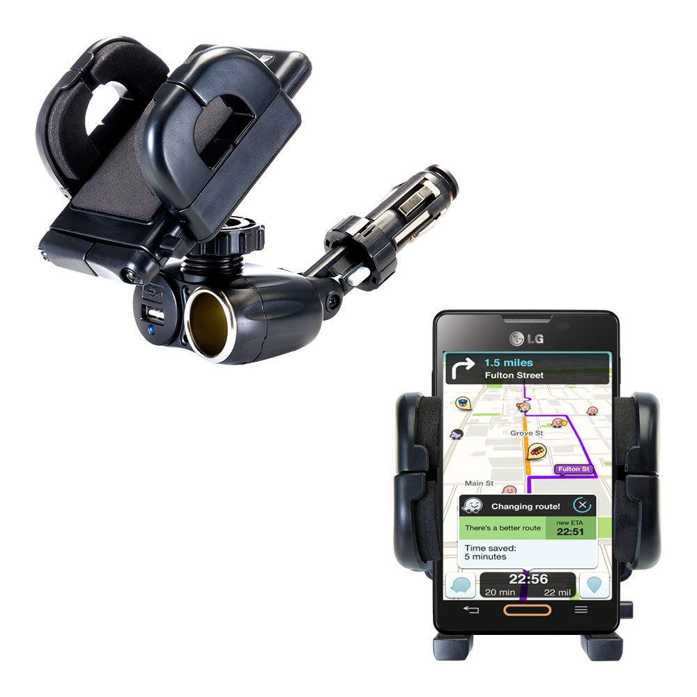 Cigarette Lighter Car Auto Holder Mount compatible with the LG Optimus L4 II