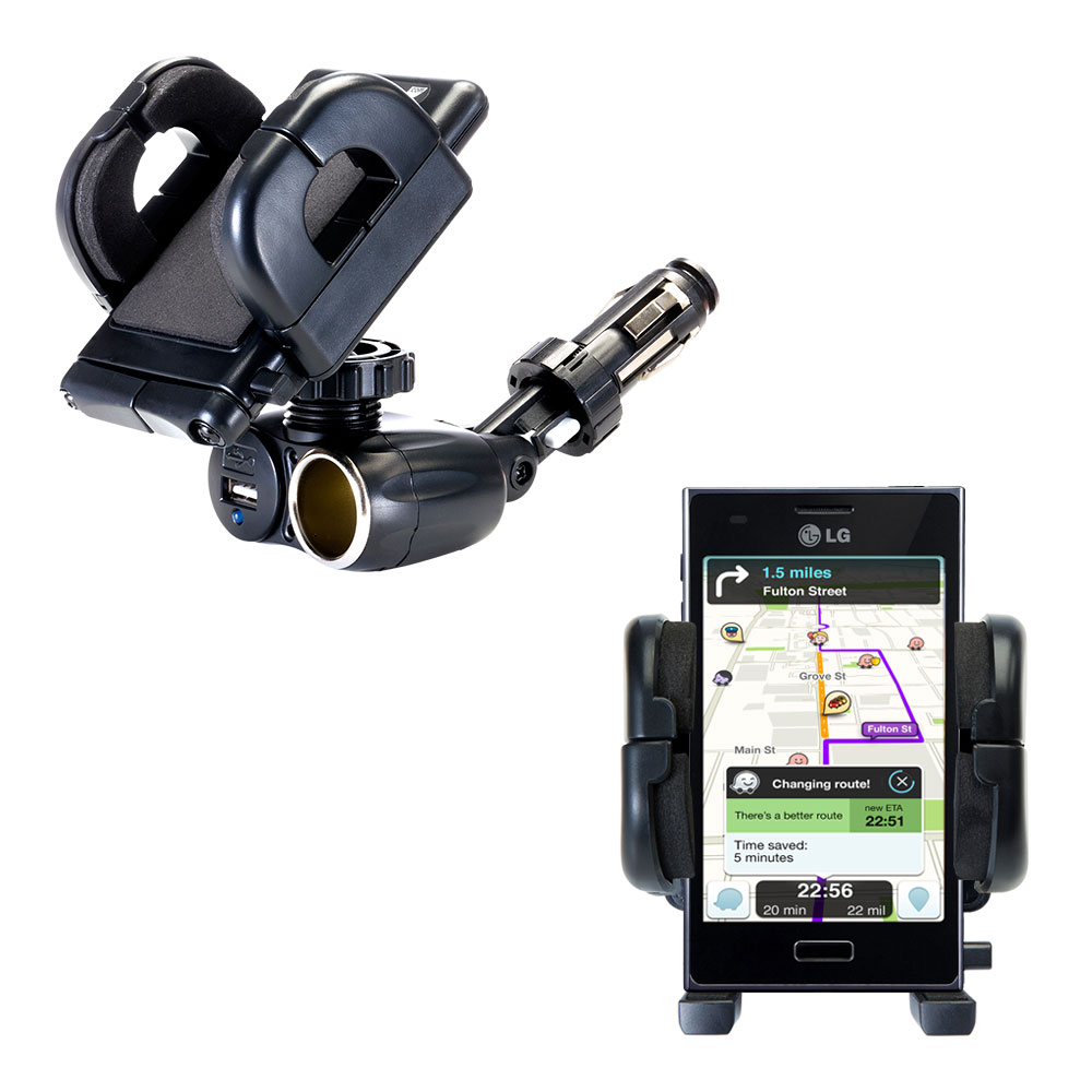 Cigarette Lighter Car Auto Holder Mount compatible with the LG Optimus L5