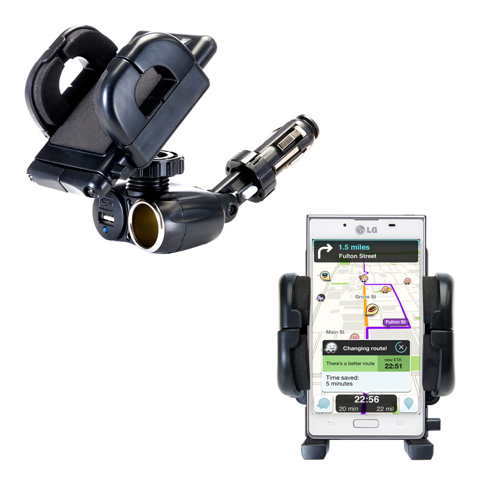 Cigarette Lighter Car Auto Holder Mount compatible with the LG Optimus L7