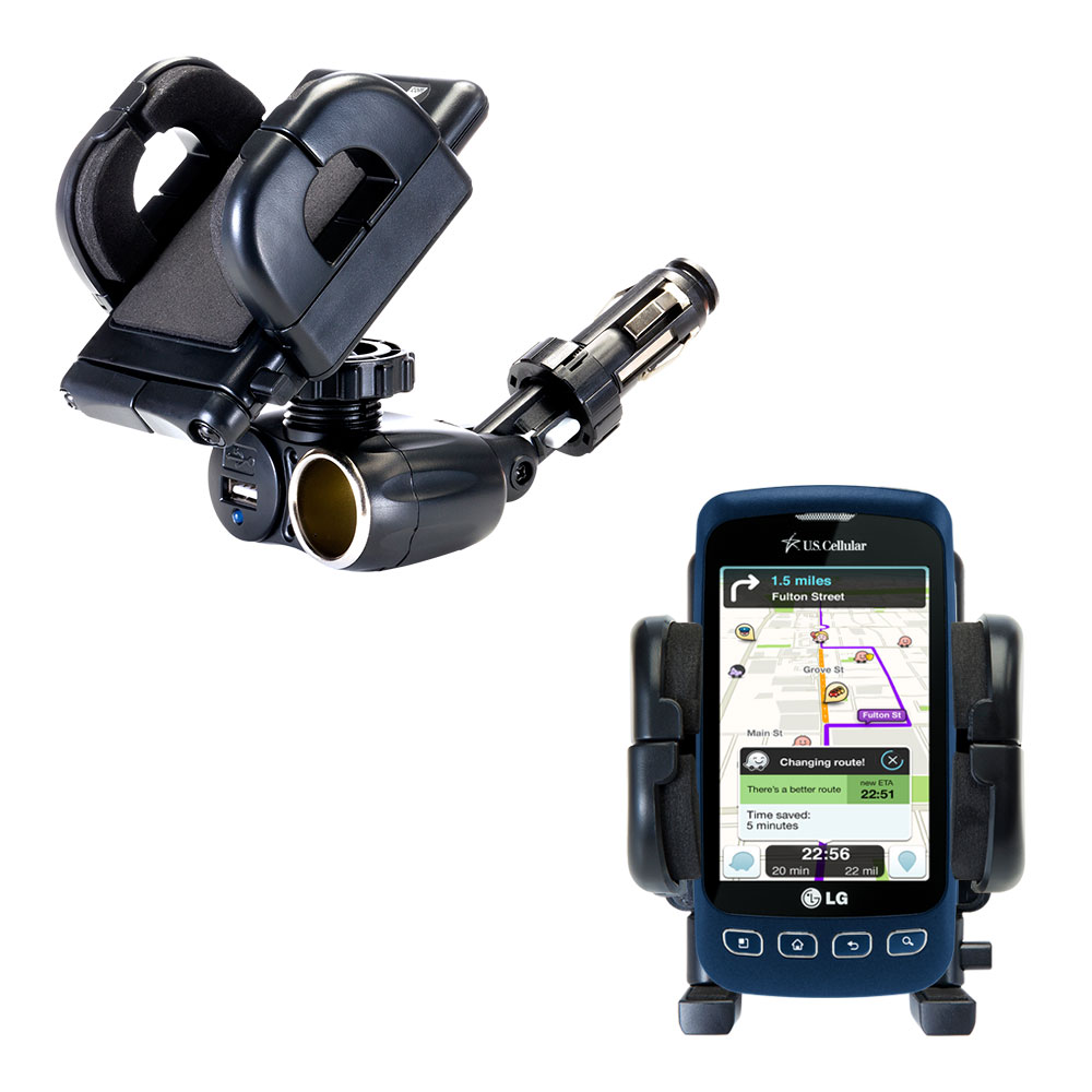 Cigarette Lighter Car Auto Holder Mount compatible with the LG Optimus S