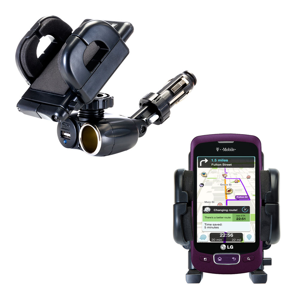 Cigarette Lighter Car Auto Holder Mount compatible with the LG Optimus T