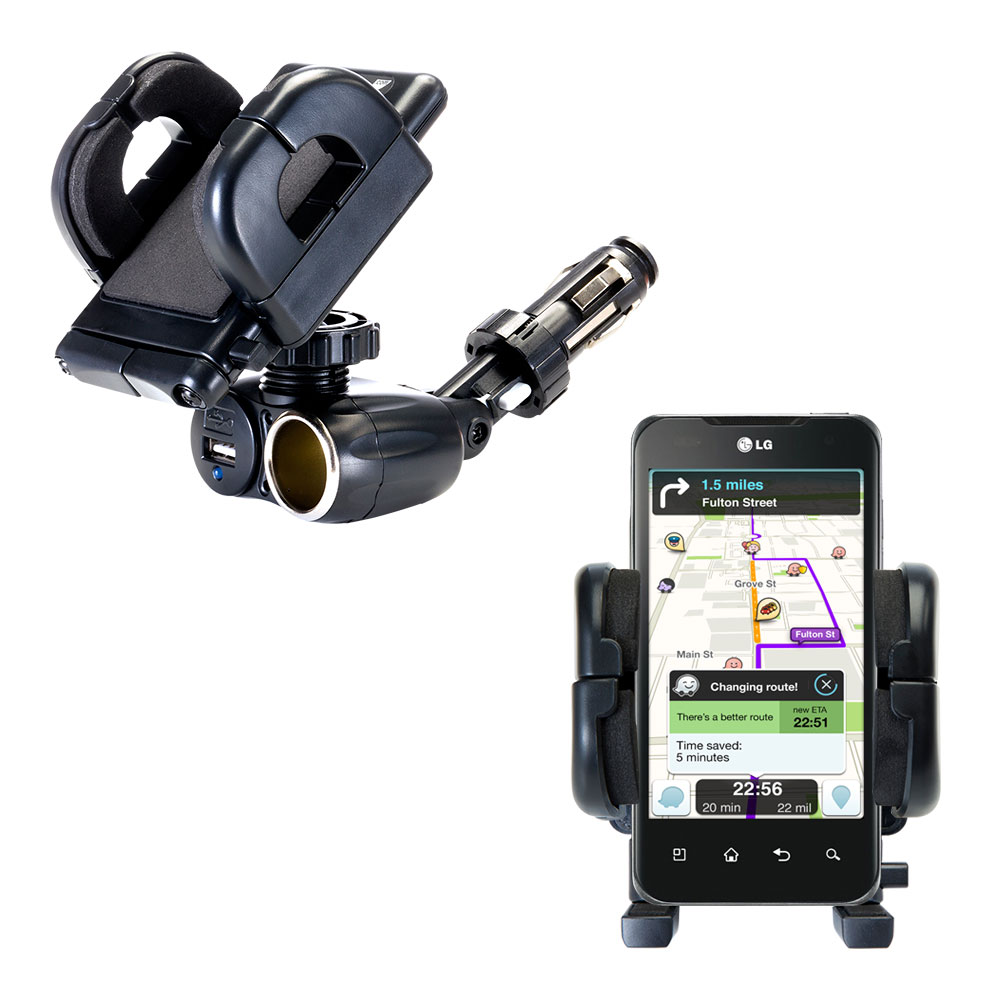 Cigarette Lighter Car Auto Holder Mount compatible with the LG Optimus Two