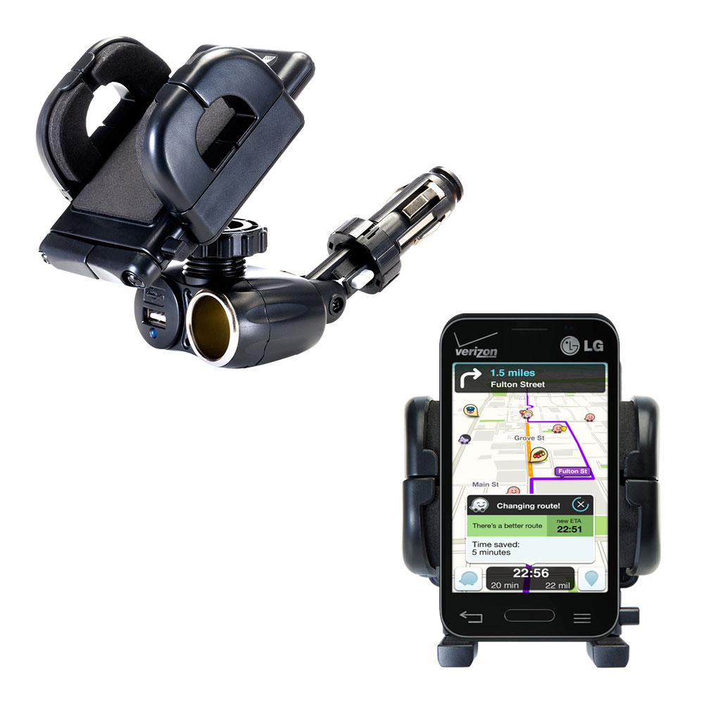 Cigarette Lighter Car Auto Holder Mount compatible with the LG Optimus Zone 1 / 2