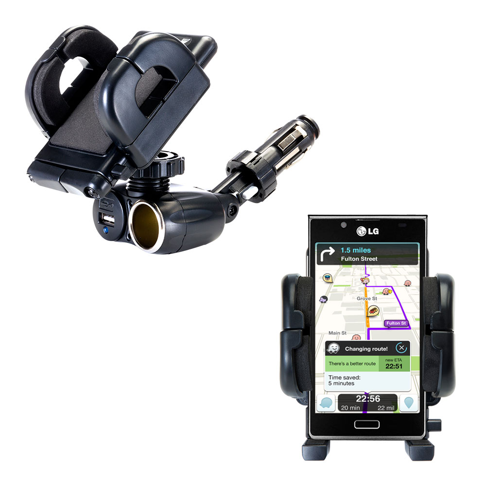 Cigarette Lighter Car Auto Holder Mount compatible with the LG Splendor