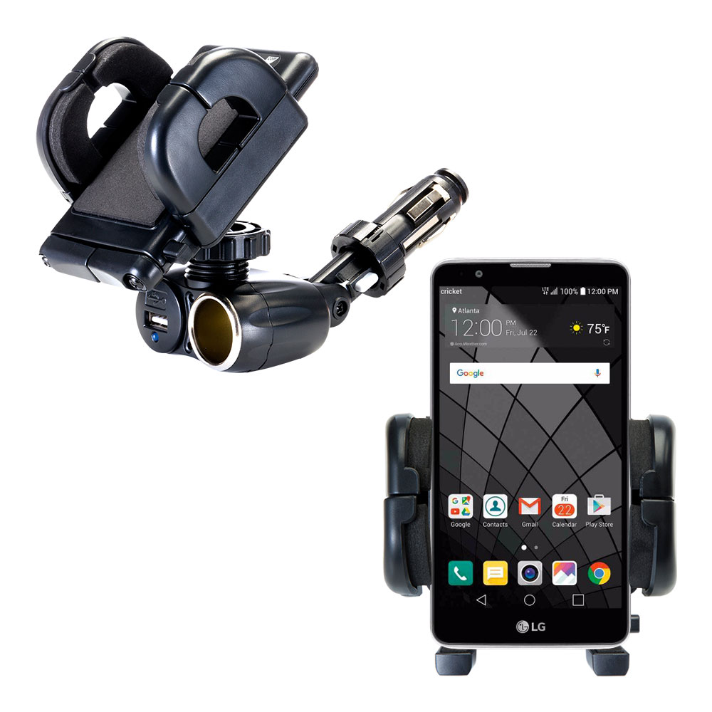 Cigarette Lighter Car Auto Holder Mount compatible with the LG Stylo 2 / 2V