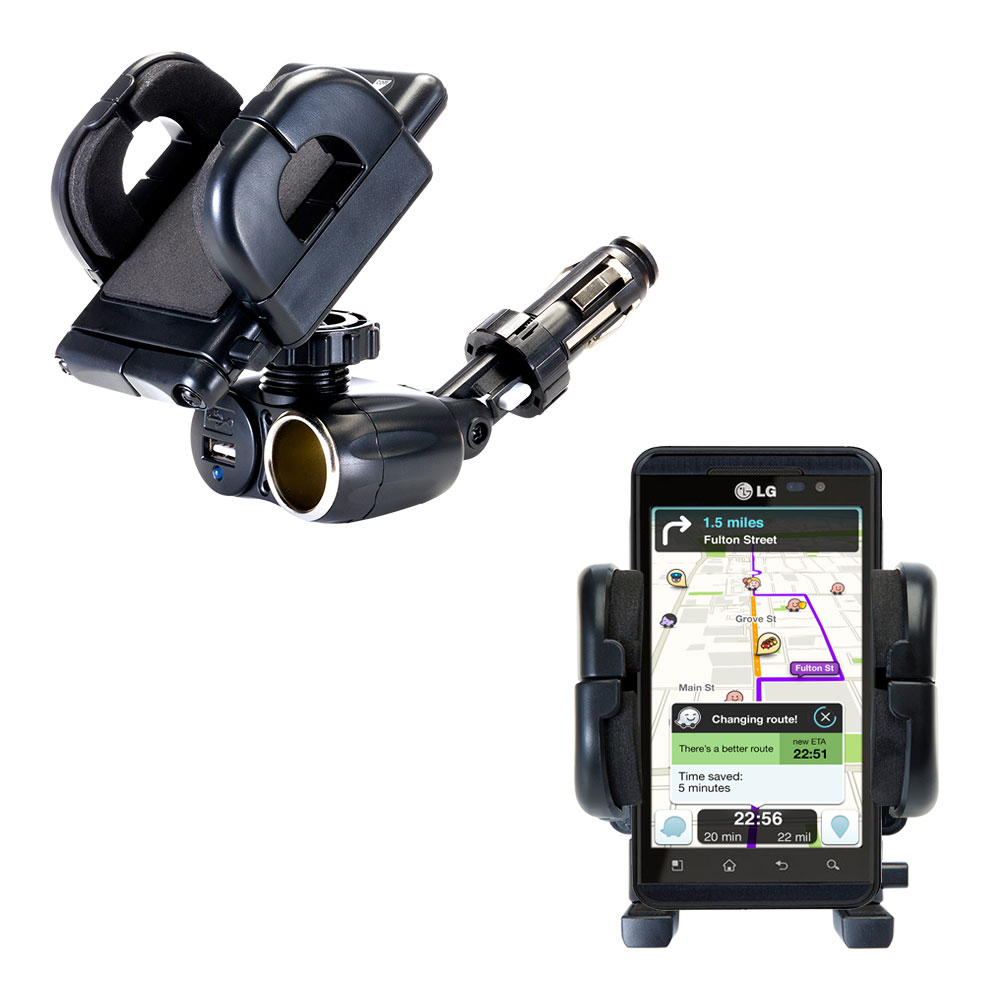 Cigarette Lighter Car Auto Holder Mount compatible with the LG Thrill 4G
