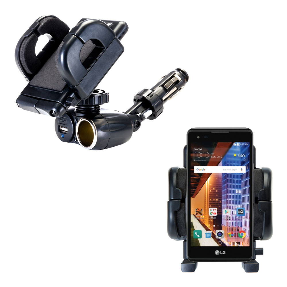 Cigarette Lighter Car Auto Holder Mount compatible with the LG Tribute HD