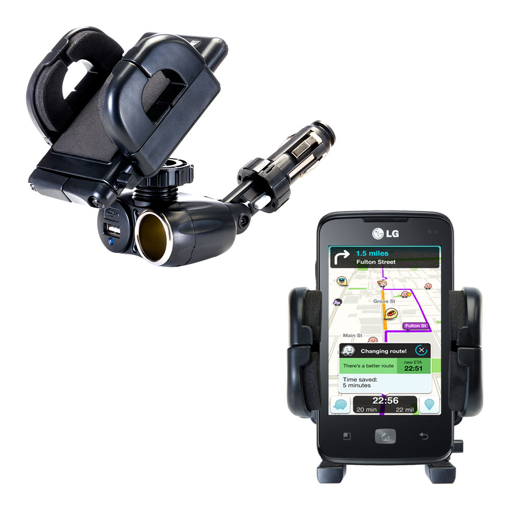 Cigarette Lighter Car Auto Holder Mount compatible with the LG Univa