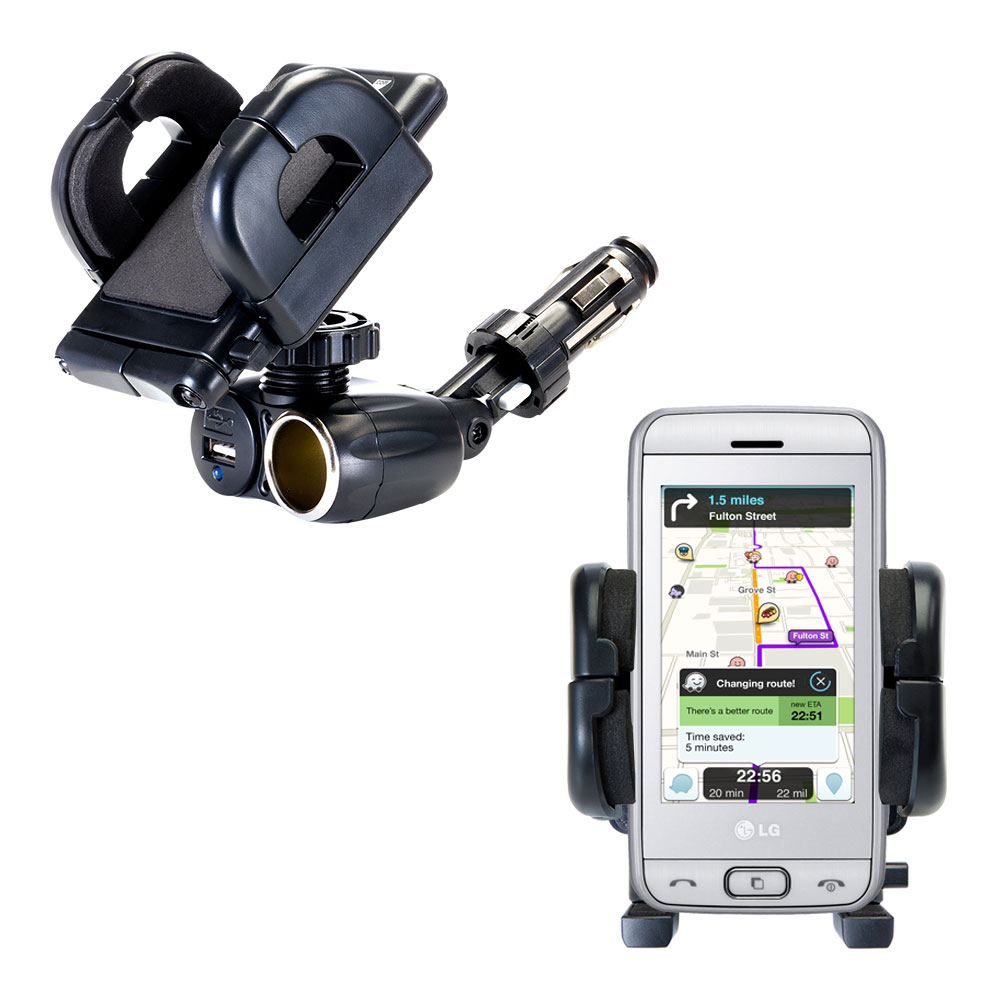 Cigarette Lighter Car Auto Holder Mount compatible with the LG Viewty Smile