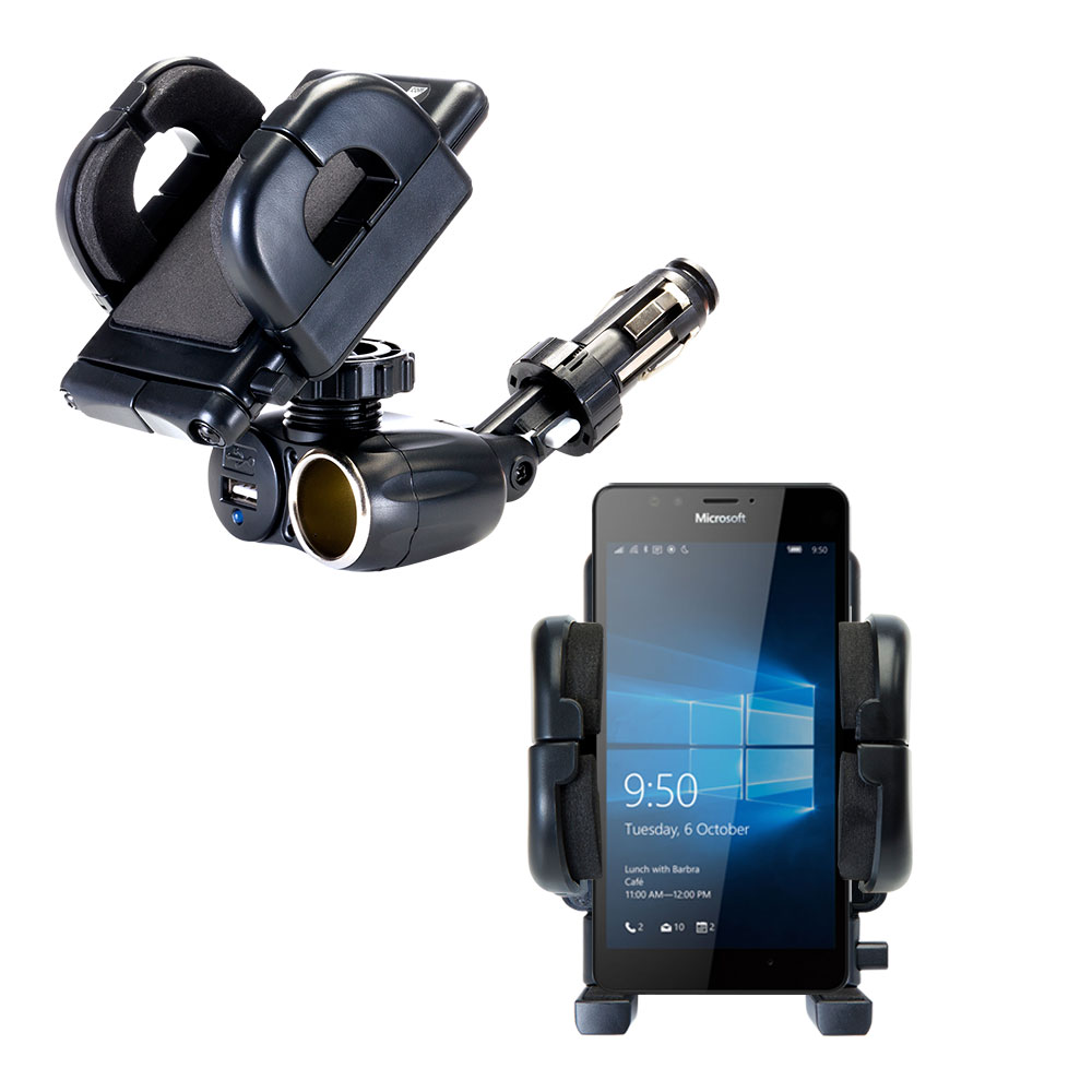Cigarette Lighter Car Auto Holder Mount compatible with the Microsoft Lumia 950