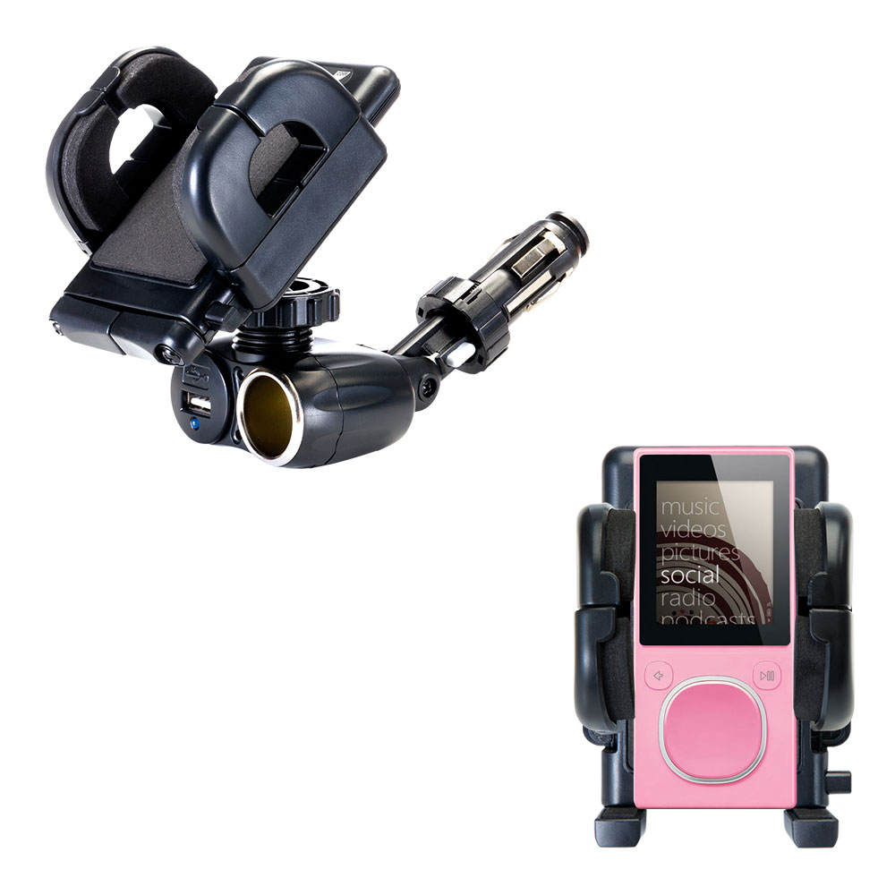 Cigarette Lighter Car Auto Holder Mount compatible with the Microsoft Zune 4GB / 8GB