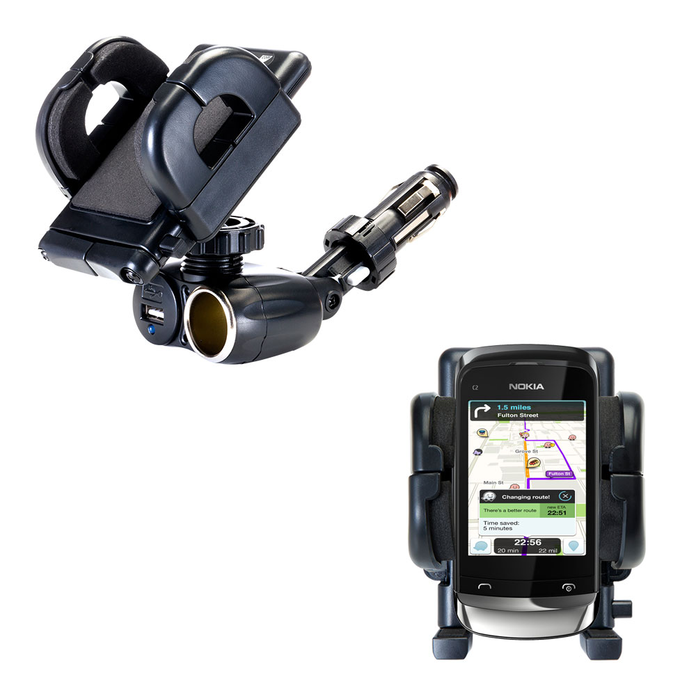 Cigarette Lighter Car Auto Holder Mount compatible with the Nokia C2-O2