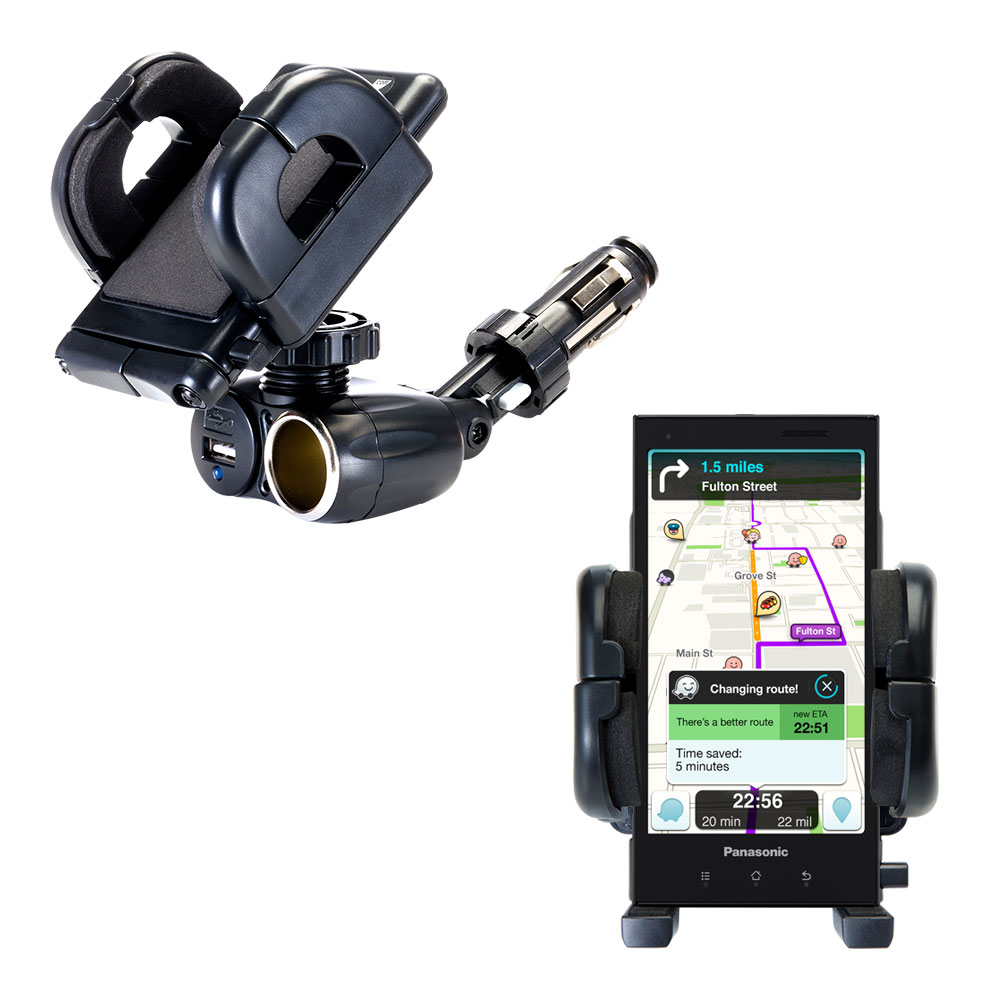 Cigarette Lighter Car Auto Holder Mount compatible with the Panasonic Eluga / dL1