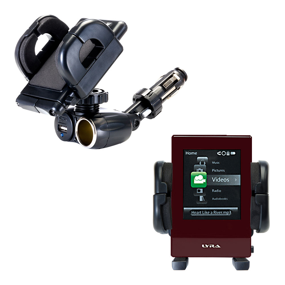 Cigarette Lighter Car Auto Holder Mount compatible with the RCA SL5008 LYRA Slider Media Player