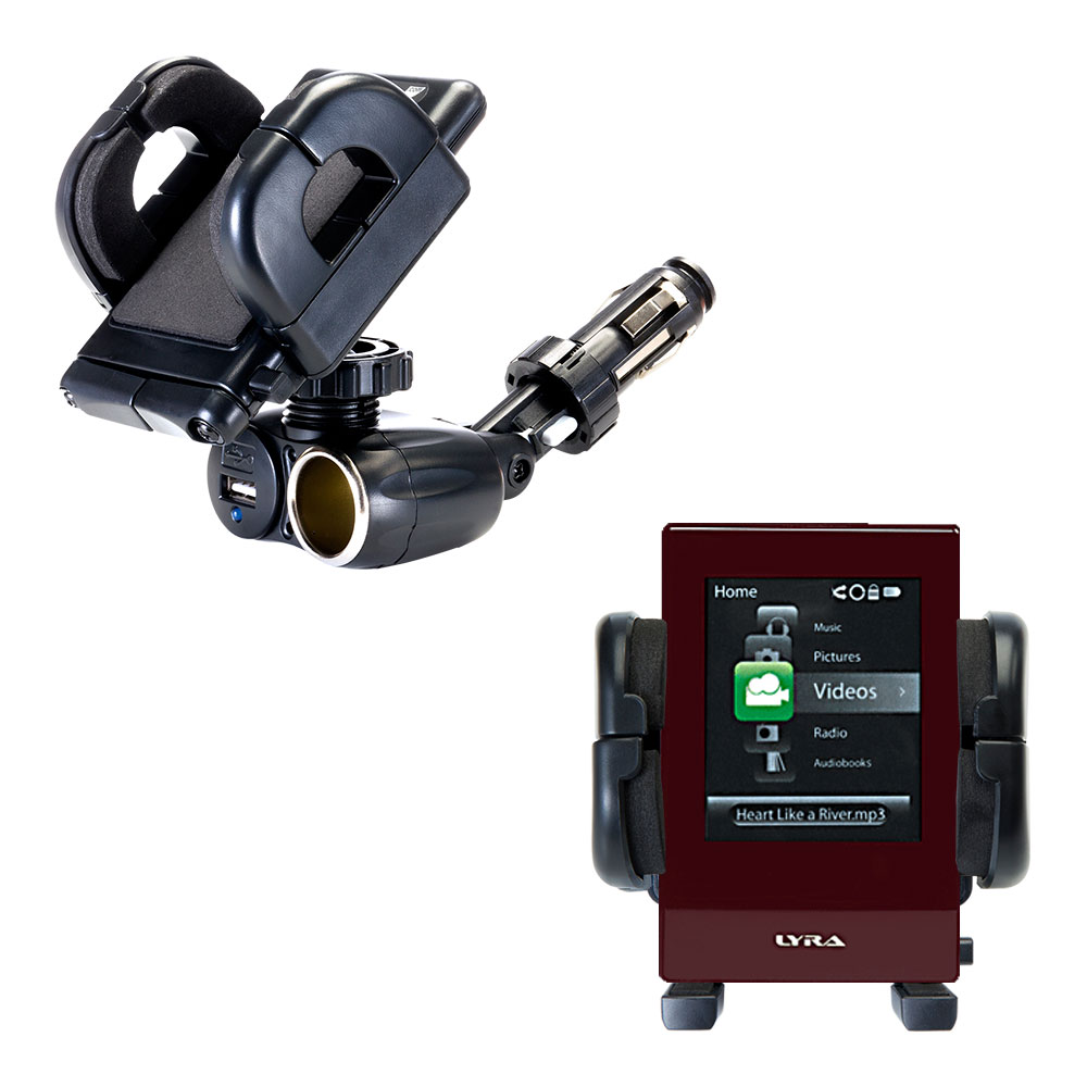 Cigarette Lighter Car Auto Holder Mount compatible with the RCA SL5016 LYRA Slider Media Player