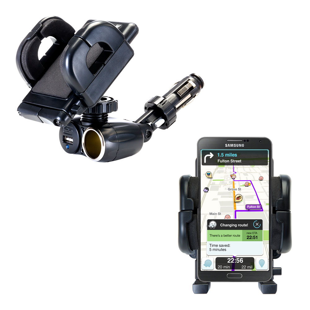 Cigarette Lighter Car Auto Holder Mount compatible with the Samsung Galaxy Note 3 / Note III