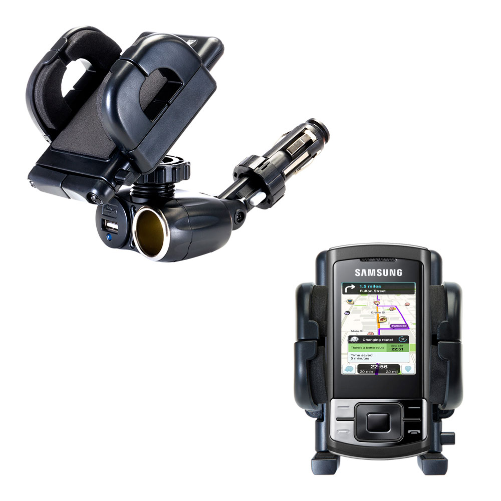 Cigarette Lighter Car Auto Holder Mount compatible with the Samsung GT-C3050