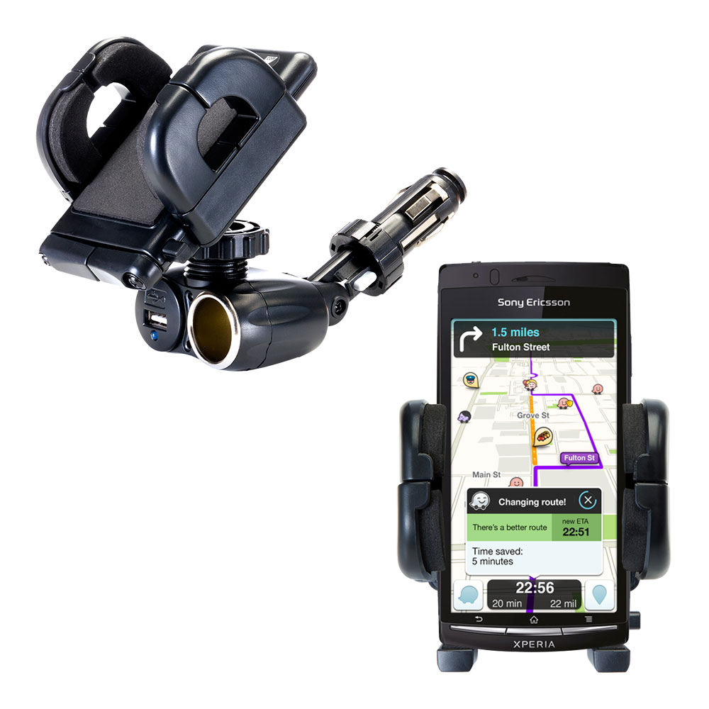 Cigarette Lighter Car Auto Holder Mount compatible with the Sony Ericsson LT15i