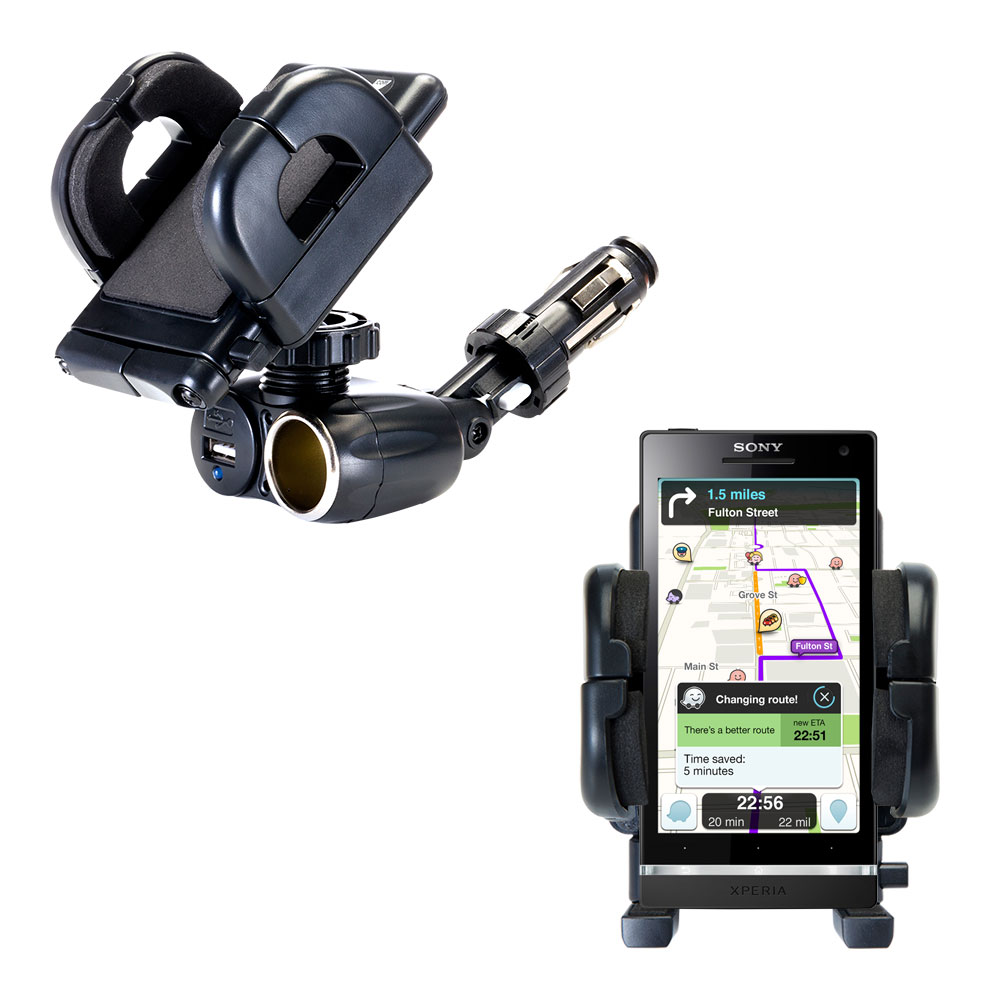Cigarette Lighter Car Auto Holder Mount compatible with the Sony Ericsson Xperia S
