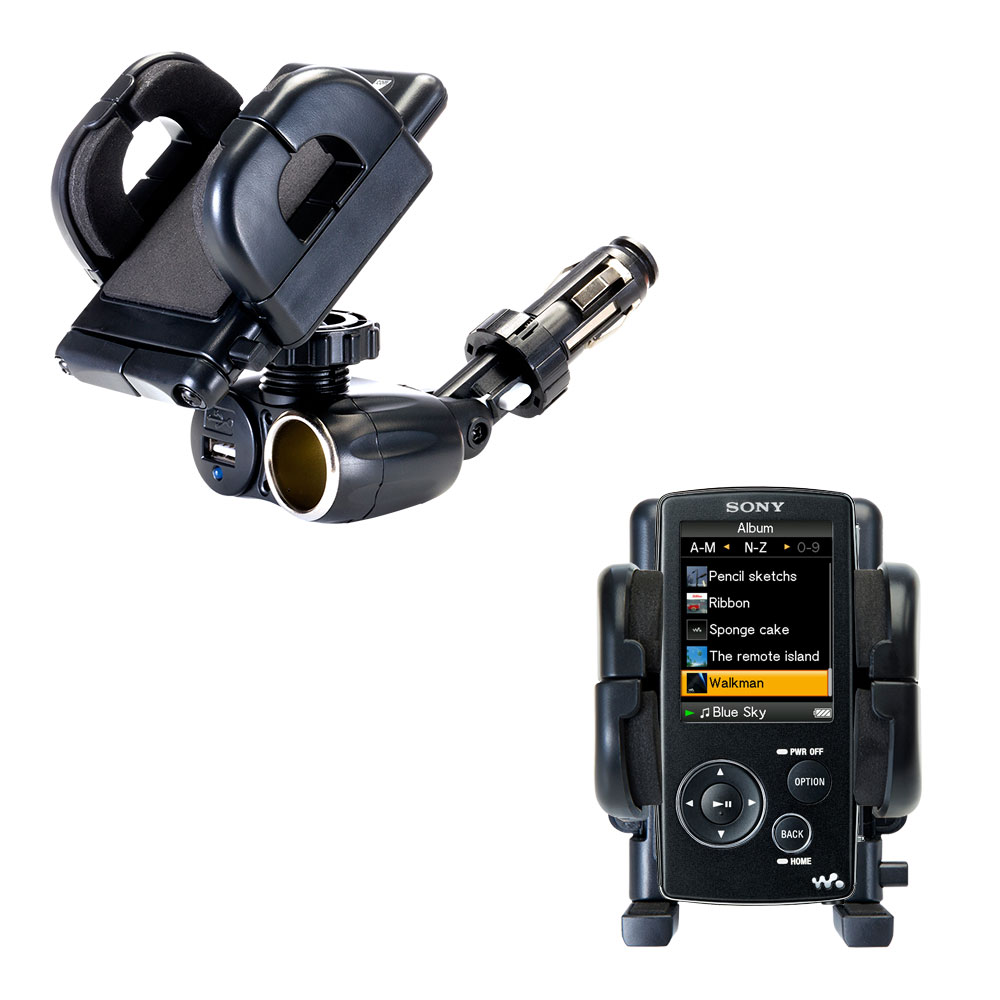 Cigarette Lighter Car Auto Holder Mount compatible with the Sony Walkman NWZ-A805