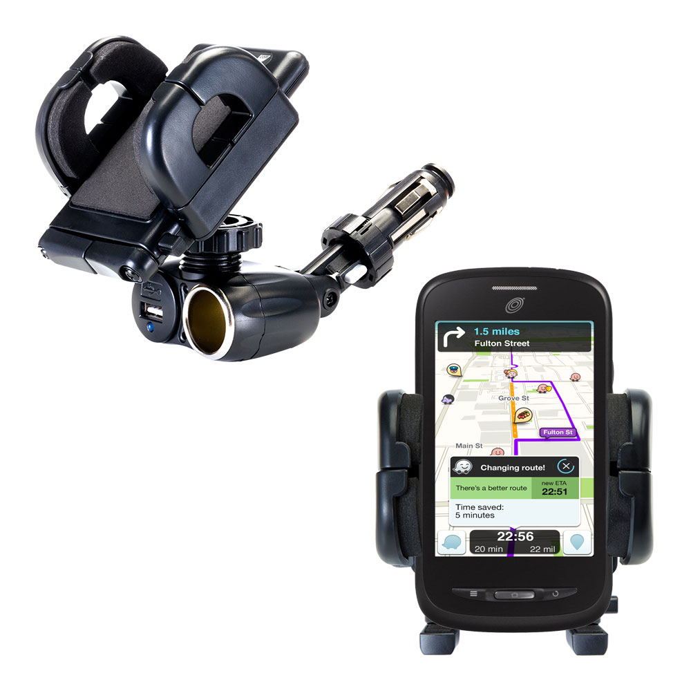 Cigarette Lighter Car Auto Holder Mount compatible with the ZTE Merit Z990G