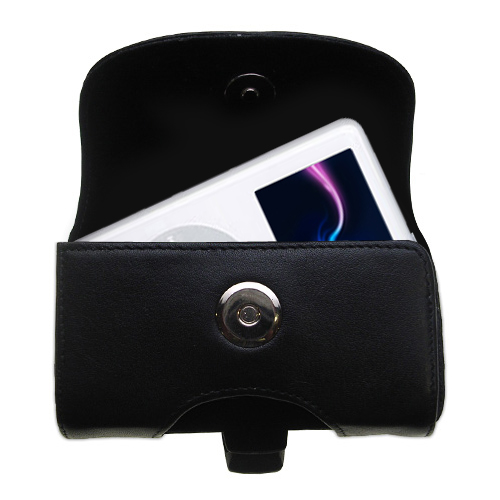 Black Leather Case for Apple iPod 4G (20GB)