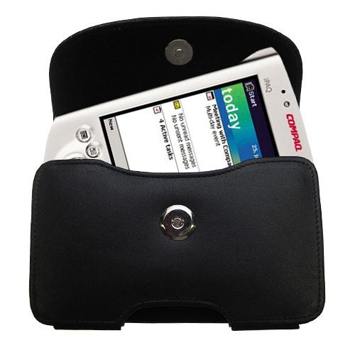 Black Leather Case for Compaq iPAQ h3100 Series