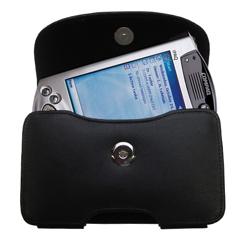 Gomadic Brand Horizontal Black Leather Carrying Case for the Compaq iPAQ h3700 Series with Integrated Belt Loop and Optional Belt Clip