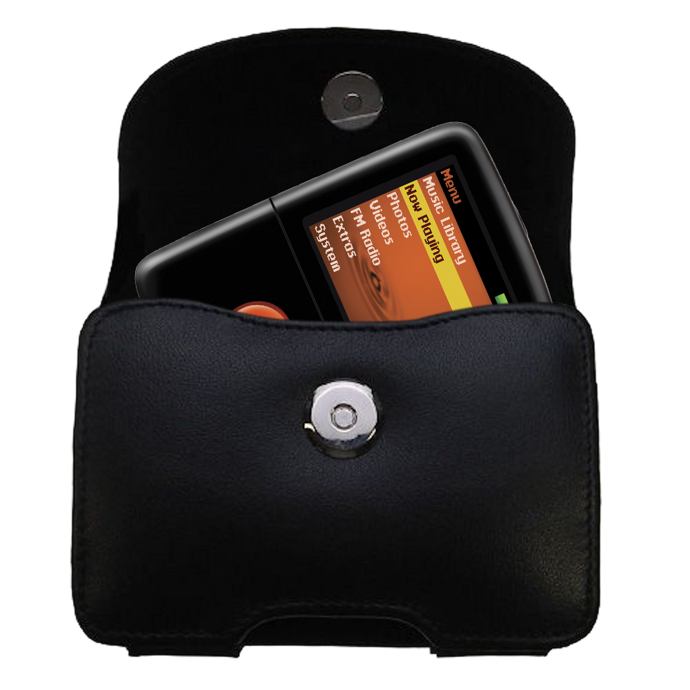 Black Leather Case for Creative Zen V Plus