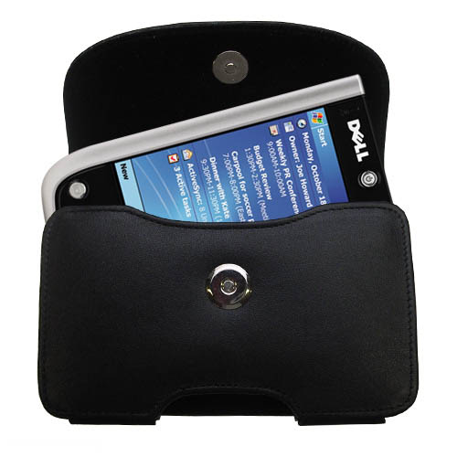 Black Leather Case for Dell Axim X50 X50v