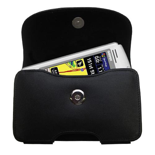 Black Leather Case for Garmin iQue M3