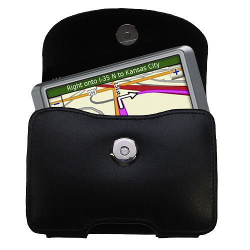 Black Leather Case for Garmin Nuvi 205W