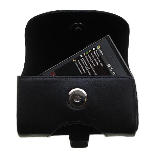 Black Leather Case for HTC Raphael