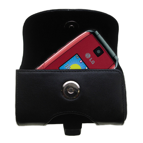 Black Leather Case for LG AX500
