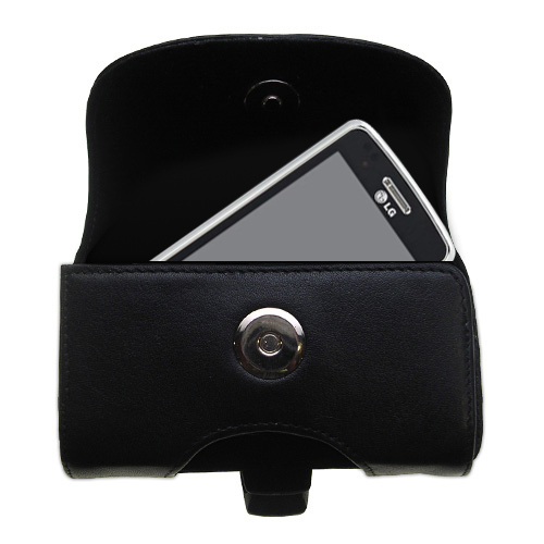 Black Leather Case for LG GW820 eXpo