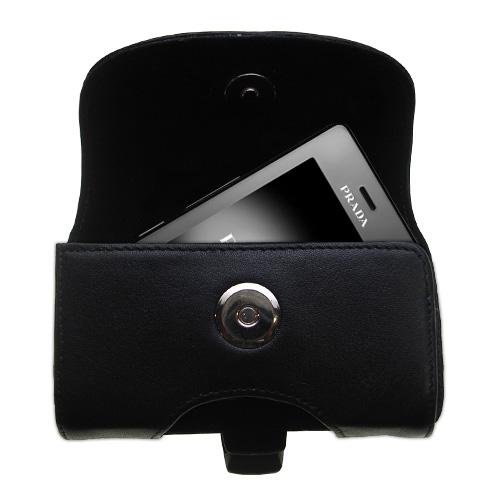 Black Leather Case for LG KE850 Prada