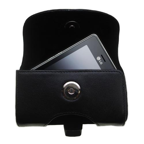 Black Leather Case for LG KS20