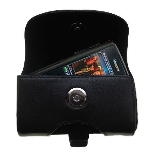 Black Leather Case for Memorex MMP8620 MMP8640