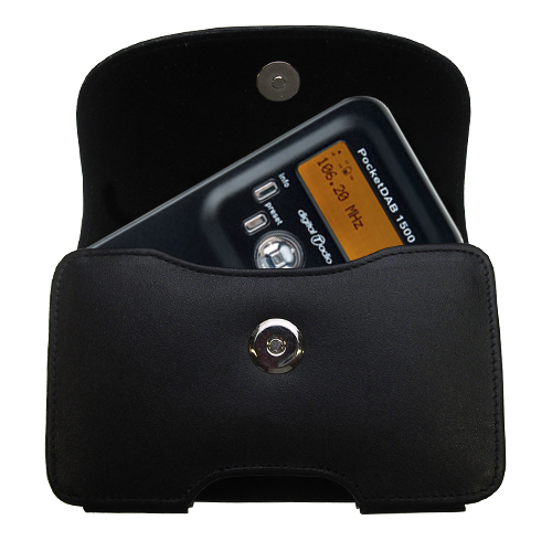 Gomadic Brand Horizontal Black Leather Carrying Case for the PURE PocketDAB 1500 with Integrated Belt Loop and Optional Belt Clip