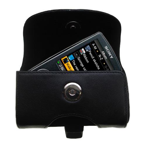 Black Leather Case for Sony Walkman NWZ-A805