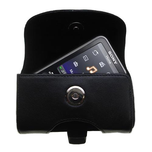 Black Leather Case for Sony Walkman NWZ-E438F
