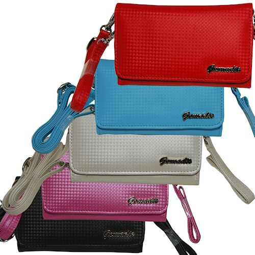 Purse Handbag Case for the LG KM555E  - Color Options Blue Pink White Black and Red