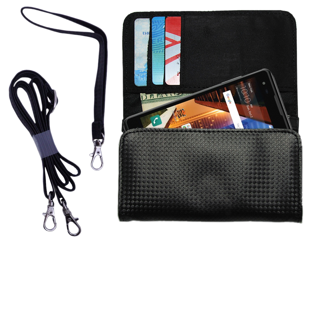 Black Purse Handbag Case for the LG Tribute HD Includes a Hand Loop and Shoulder Strap