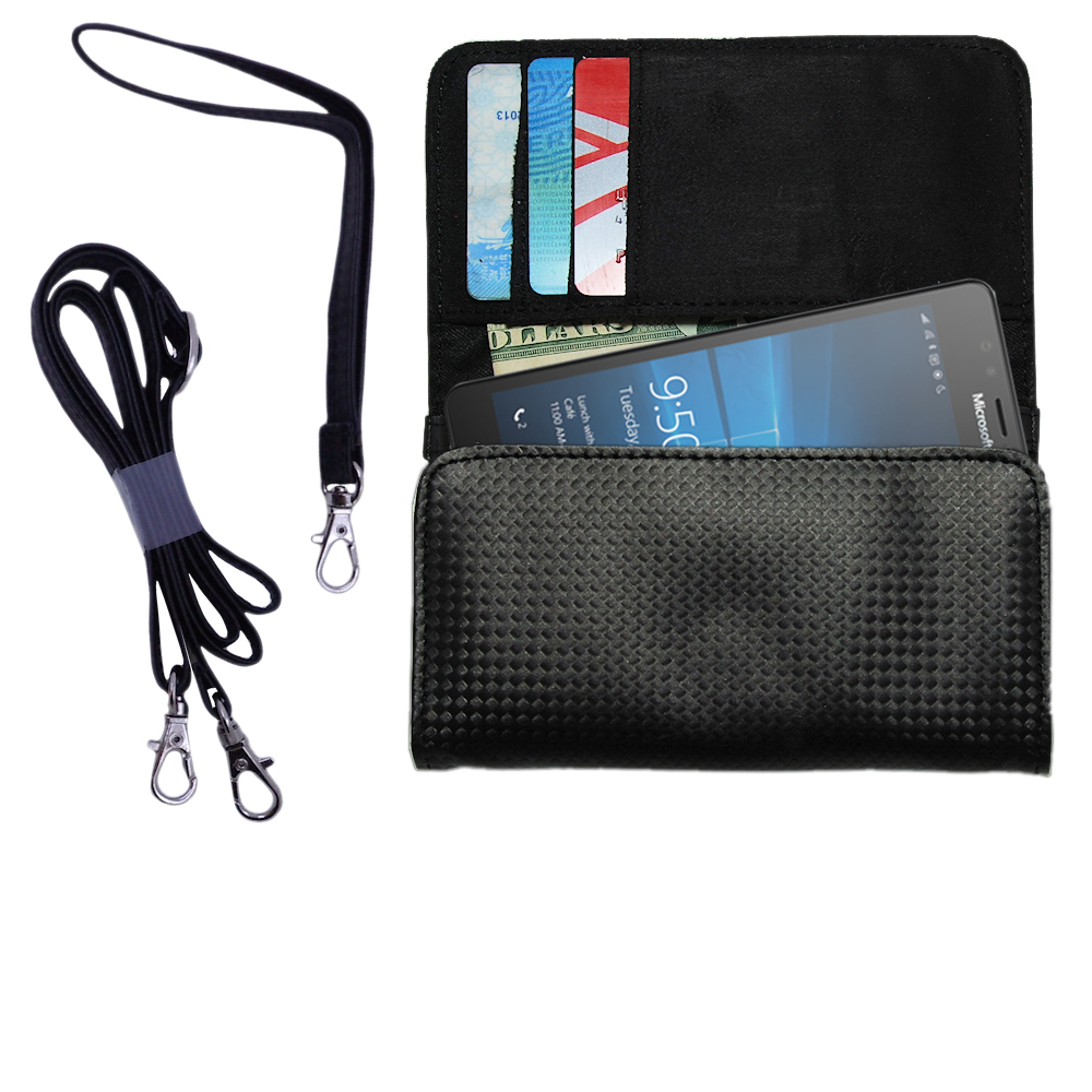 Black Purse Handbag Case for the Microsoft Lumia 950 Includes a Hand Loop and Shoulder Strap